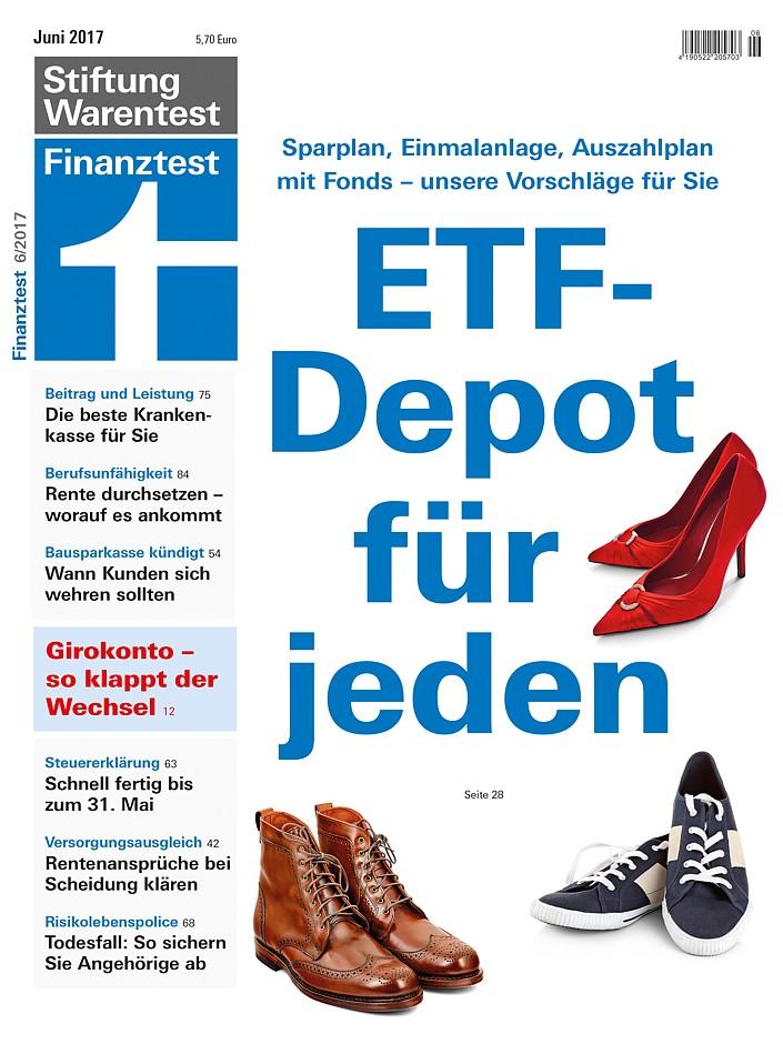 Vergleich verschiedener Risikolebensversicherungen in der Finanztest 06-2017 Bild: Stiftung Warentest